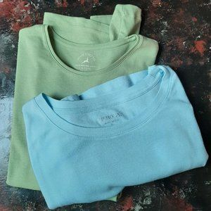 ladies Cotton tops (Two) Green and Blue Size Large